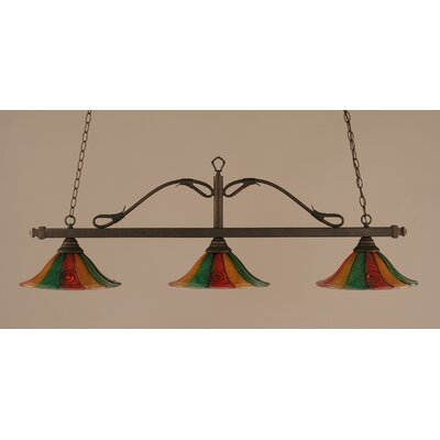 Scroll 3-Light Billiard Light Finish: Bronze, Shade: 14 Mardi Gras Glass