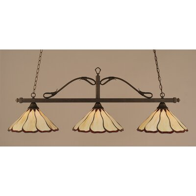 Reba 3-Light Billiard Light Finish: Bronze, Shade: 16 Honey & Burgundy Flair Tiffany Glass