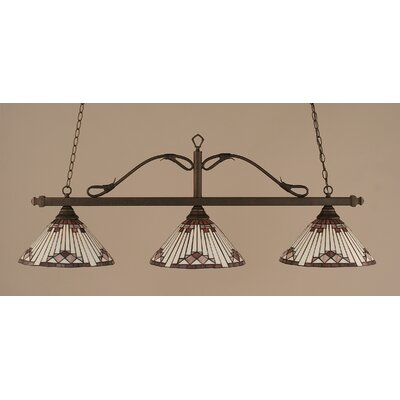 Reba 3-Light Billiard Light Finish: Bronze, Shade: 15 Purple Sunray Glass