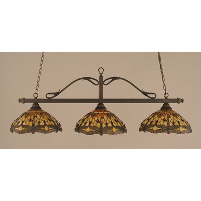 Reba 3-Light Billiard Light Color: Bronze, Shade: 16 Amber Dragonfly Tiffany Glass