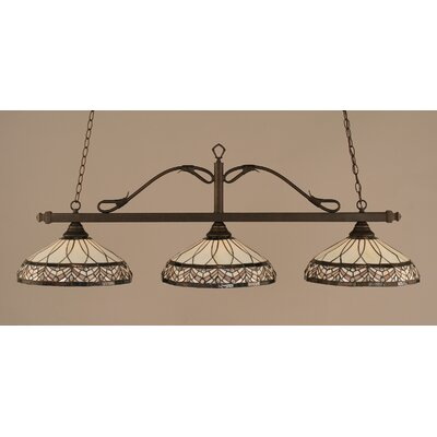 Scroll 3-Light Billiard Light Finish: Bronze, Shade: 16 Royal Merlot Tiffany Glass
