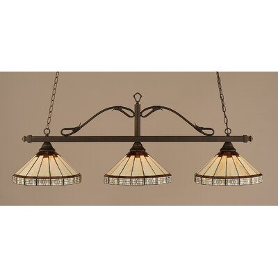 Reba 3-Light Billiard Light Finish: Bronze, Shade: 15 Honey & Brown Mission Glass