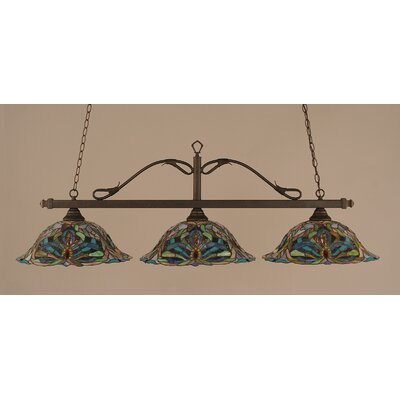 Reba 3-Light Billiard Light Color: Bronze, Shade: 19 Kaleidoscope Tiffany Glass