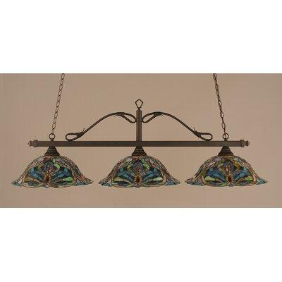 Reba 3-Light Billiard Light Finish: Bronze, Shade: 19 Kaleidoscope Tiffany Glass