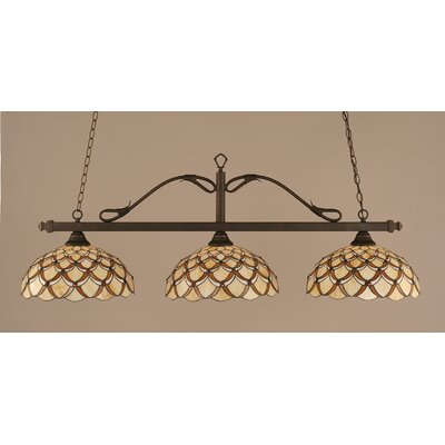 Scroll 3-Light Billiard Light Finish: Bronze, Shade: 16 Honey & Brown Scallop Tiffany Glass