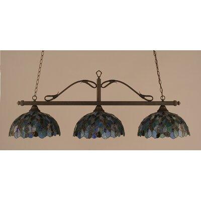 Reba 3-Light Billiard Light Color: Bronze, Shade: 16 Blue Mosaic Tiffany Glass