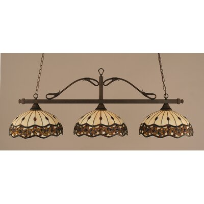 Reba 3-Light Billiard Light Color: Bronze, Shade: 16 Roman Jewel Tiffany Glass