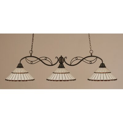 Jazz 3-Light Kitchen Island Pendant Finish: Bronze, Shade Color: Honey and Amber Brown Jewels Tiffany Glass