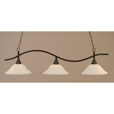 Swoop 3-Light Billiard Light Finish: Dark Granite, Shade: White Linen Glass
