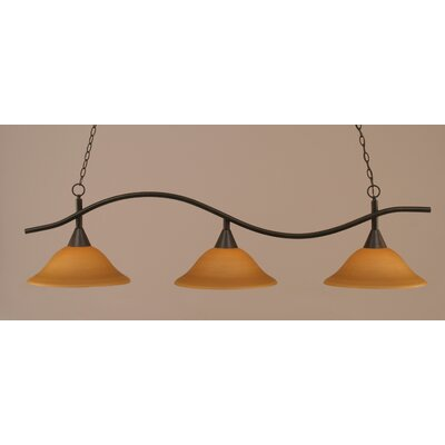 Swoop 3-Light Billiard Light Finish: Dark Granite, Shade: Cayenne Linen Glass