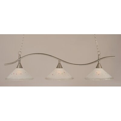 Swoop 3-Light Billiard Light Finish: Brushed Nickel, Shade: Frosted Crystal Glass