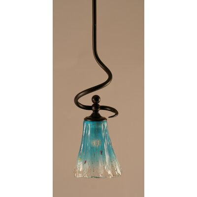 Capri Stem Mini Pendant With Hang Straight Swivel Shade Color: Teal