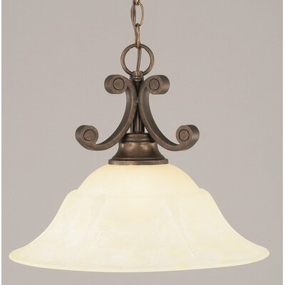 Babin 1-Light Downlight Pendant Shade Color: Amber Marble Glass