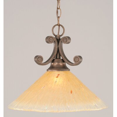 Babin 1-Light Downlight Pendant Shade Color: Amber Crystal Glass