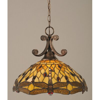 Babin 1-Light Downlight Pendant Shade Color: Amber Dragonfly Tiffany Glass