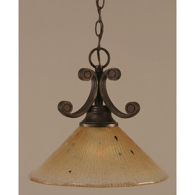 Babin 1-Light Downlight Pendant Shade Color: Amber Crystal Glass in Bronze