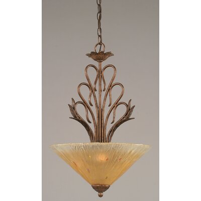 Swan 3-Light Inverted Pendant Shade Color: Amber Crystal Glass