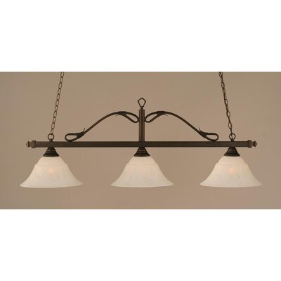 3-Light Wrought Iron Rope Kitchen Island Pendant Finish: Bronze