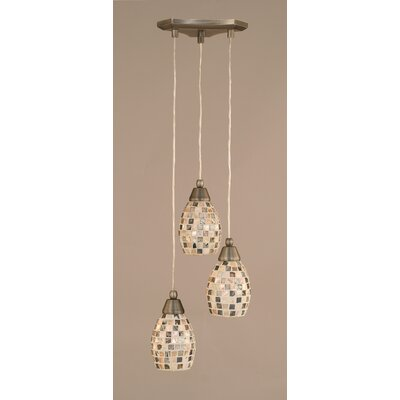 Europa 3-Light Mini Pendant Finish: Brushed Nickel, Shade Size: 5, Shade Color: Seashell