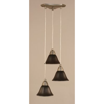 Europa 3-Light Mini Pendant Finish: Brushed Nickel, Shade Size: 7, Shade Color: Charcoal Spiral