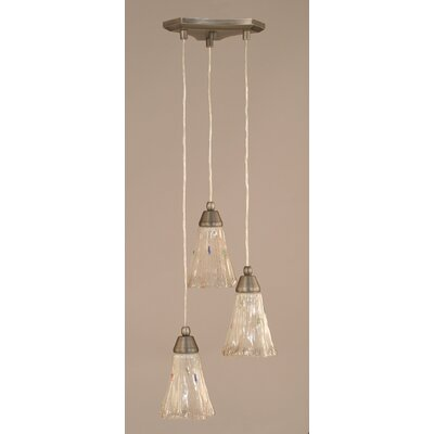 Europa 3-Light Mini Pendant Shade Size: 5.5, Shade Color: Frosted Crystal, Finish: Brushed Nickel