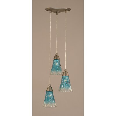 Europa 3-Light Mini Pendant Shade Size: 5.5, Shade Color: Teal Crystal, Finish: Brushed Nickel