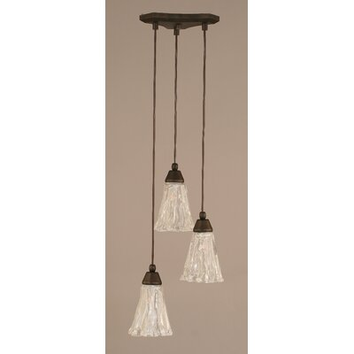 Europa 3-Light Mini Pendant Shade Size: 5.5, Shade Color: Italian Ice, Finish: Bronze