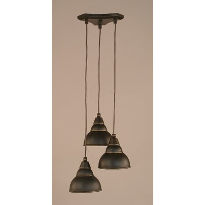 Europa 3-Light Mini Pendant Shade Size: 7, Shade Color: Double Bubble, Finish: Dark Granite