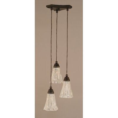 Europa 3-Light Mini Pendant Shade Size: 5.5, Shade Color: Italian Ice, Finish: Dark Granite