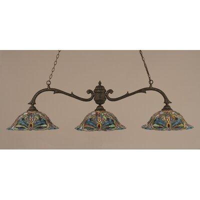 Octopus 3-Light Billiard Light Shade: 19  Kaleidoscope Tiffany Glass