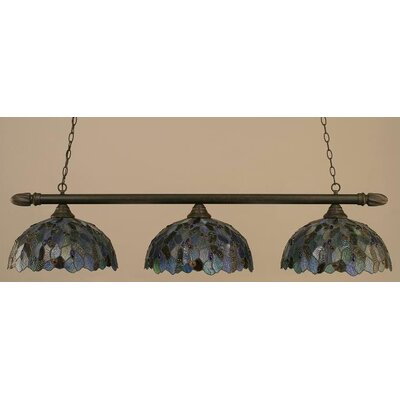 3-Light Round Pool Table Light Finish: Dark Granite
