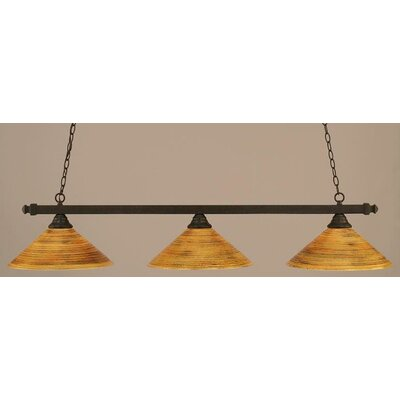 3-Light Square Kitchen Island Pendant Finish: Dark Granite