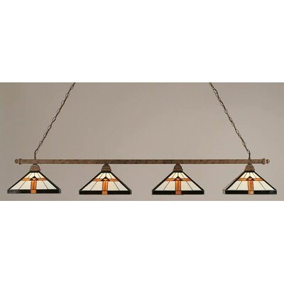 4-Light Square Pool Table Light Finish: Black Copper