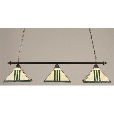 3-Light Square Pool Table Light Finish: Black Copper