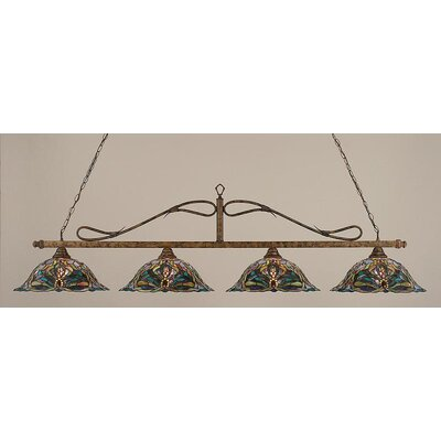 4-Light Wrought Iron Rope Kitchen Island Pendant Finish: Mahogany