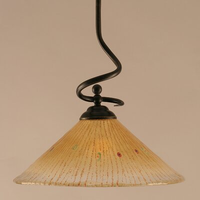 Capri Stem Pendant With Hang Straight Swivel Shade Color: Amber