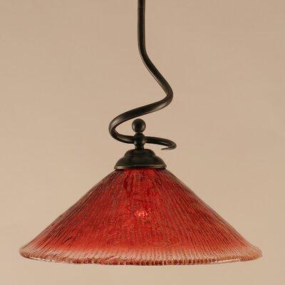 Capri Stem Pendant With Hang Straight Swivel Shade Color: Raspberry