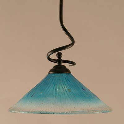 Capri Stem Pendant With Hang Straight Swivel Shade Color: Teal