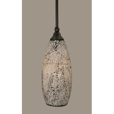 Stem 1-Light Mini Pendant Shade Color: Black, Size: 13.75 H x 5.5 W