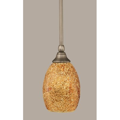 Scheid 1-Light Stem Mini Pendant With Hang Straight Swivel Finish: Brushed Nickel, Size: 5
