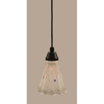 1-Light Mini Pendant Finish: Matte Black, Shade Color: Frosted
