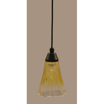 1-Light Mini Pendant Finish: Matte Black, Shade Color: Gold Champagne