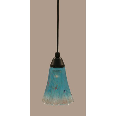 1-Light Mini Pendant Finish: Matte Black, Shade Color: Teal