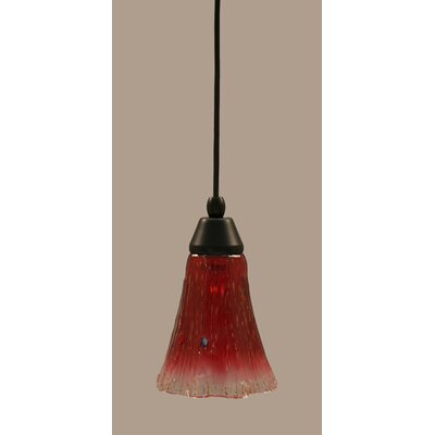 1-Light Mini Pendant Shade Color: Raspberry, Finish: Matte Black