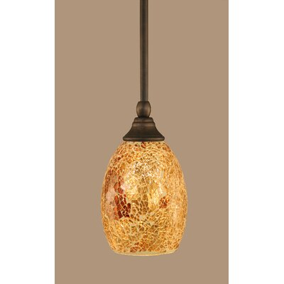 Scheid 1-Light Stem Mini Pendant With Hang Straight Swivel Finish: Bronze, Size: 5