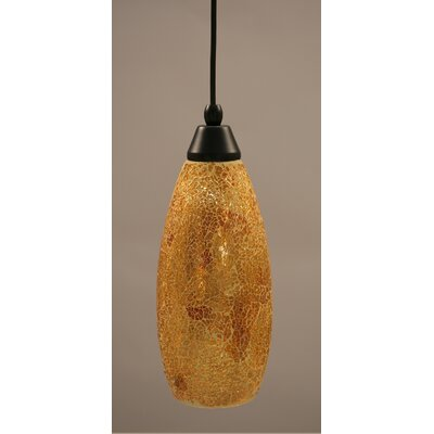1-Light Mini Pendant Finish: Matte Black, Shade Color: Gold, Size: 13.75 H x 5 W
