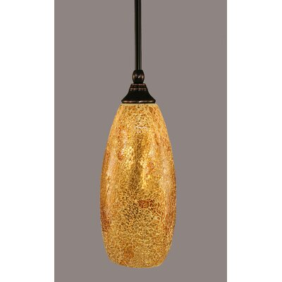 Scheid 1-Light Stem Mini Pendant With Hang Straight Swivel Finish: Black Copper, Size: 15.5
