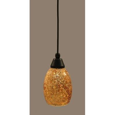 1-Light Mini Pendant Size: 8.75 H x 5 W, Finish: Matte Black, Shade Color: Gold