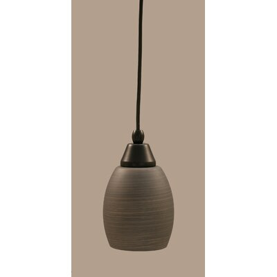 1-Light Mini Pendant Shade Color: Gray, Finish: Matte Black