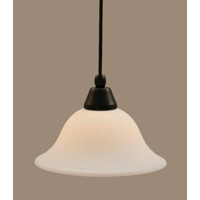 1-Light Mini Pendant Shade Color: White, Finish: Matte Black